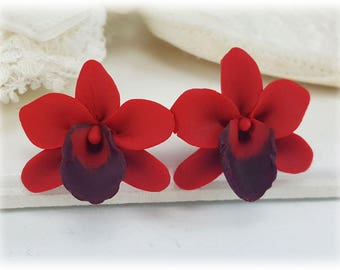 Red Orchid Stud Earrings or Clip On Earrings - Red Orchid Jewelry