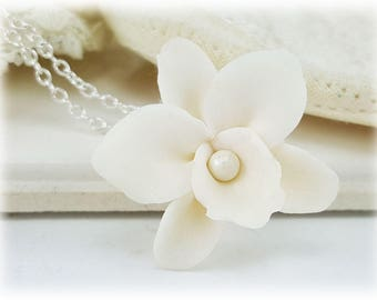 White Orchid Necklace - White Orchid Pendant Necklace, White Orchid Jewelry, Orchid Wedding Jewelry, Orchid Bridal Jewelry