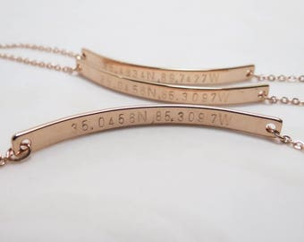 Personalized Bar Bracelet, Customized Bracelet, Friendship Bracelet, Rose Gold Bracelet, Roman Numerals Bracelet, Coordinates Bracelet