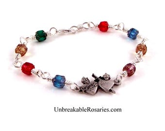 Sacred Heart of Jesus Immaculate Heart of Mary Wire Wrapped Religious Charm Bracelet Rainbow Cathedral Glass by Unbreakable Rosaries
