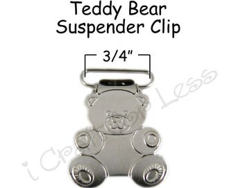 25 Metal 3/4 Inch Teddy Bear Suspender Clips - w/ Rectangle Inserts - Lead Free - plus Pacifier Holder Instructions - SEE COUPON
