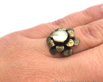 Pearl White Vintage Button with Brass Flower Ring