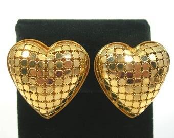 Golden Mesh Puffy Heart Clip Earrings - Vintage 1980s Fashion Jewelry - Romantic Love - Lightweight 3 Dimensional Goldtone Earrings