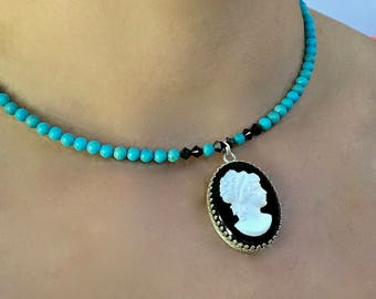 Black Cameo Necklace, Turquoise Cameo Choker Necklace, Blue Wedding, Vintage Cameo Jewelry, Gift for Her, Sterling Silver