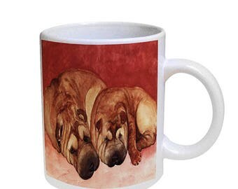 Shar-Pei Puppy in Watering Can Stainless Steel Travel Mug Heat Morph Mug Chinese Shar-Pei Lover Dog Gift Shar-Pei Art by Denise Every