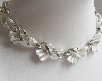 Vintage Choker Necklace Signed Coro Silver tone 1950s 1960s Mid Century Modernist