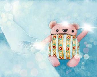 Children's Room - Nursery Art - God Made You Special - Teddy Bear - Inspirational Art Print - by Lisa MD Skinner