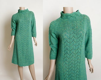 Vintage 1970s Knit Sweater Dress - Soft Blue and Forest Green Leaf Knit Tunic Pullover Dress with Mock High Neck - Small Medium