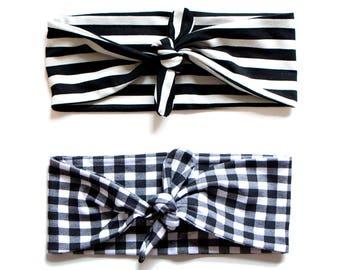 SALE STRIPE PATTERN Tie Up Headscarf Black & White Gingham // Tie Up Headscarf Black and Stone Stripe