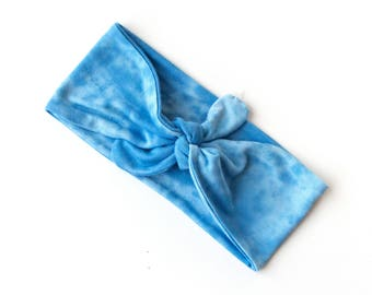 SALE SKINNY WIDTH Tie Up Headscarf  // Tie Up Hair Wrap // Knotted Headband // Sky Blue Tie Dye