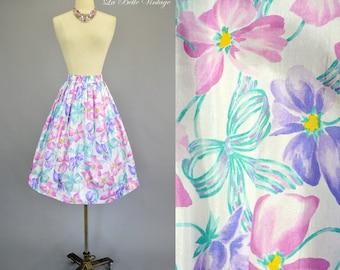 Pastel Floral Full Skirt M L Vintage Flowers & Ribbon Bows Print