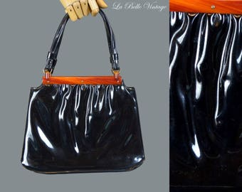 Garay Patent Purse Vintage 50s Lucite Black Handbag