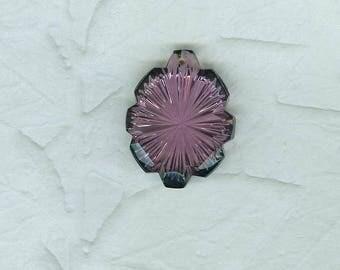 Vintage German Glass Flower Pendant  Amethyst Purple 32 Millimeters Long