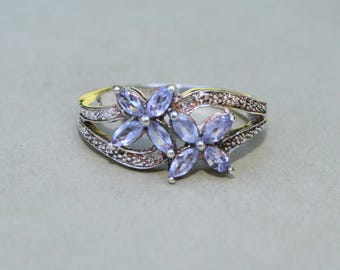 Oxidized Sterling Silver Lavender Cubic Zirconia Romantic Flower Ring Size 7 Estate Band