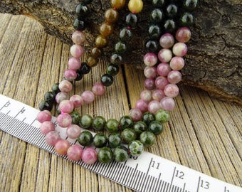 6mm Tourmaline Beads, Natural Tourmaline, 6mm Gemstone Beads, Pink Green Black 6 mm Round Beads  - turmaline