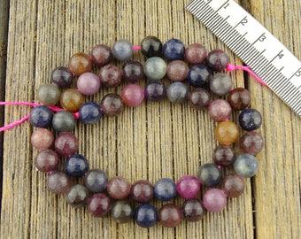 8mm Corundum Beads, Ruby Beads, Sapphire Beads, Blue Beads, Multicolor Corundum Beads, Gemstone Beads, 8mm Round Beads, HALF STRAND