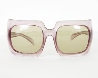 1960's Incredible Vtg Women's Mod Space Age Oversized Square Clear Sunglasses