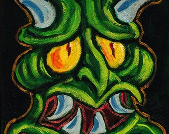 Green Oni Demom Painting 6x6 Acrylic on Canvas