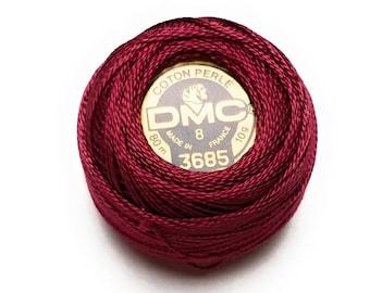 DMC 3685 Perle Cotton Thread |Size 8| Very Dark Mauve