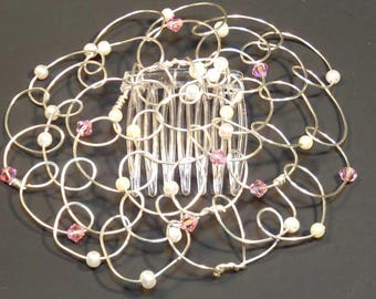 Kippah Womens Headcovering  Kippot- Silver Wire with Pink Swarovski Crystals