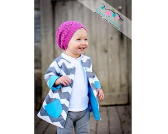 SALE Reversible Jacket Pattern for girls sizes 12 months through slim 12 girls Pdf Instant