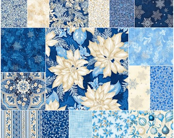 "SQ119 Robert Kaufman Holiday Flourish Blue Precut 5"" Charm Pack Fabric Metallic Accents Quilting Cotton Squares CHS-588-42"
