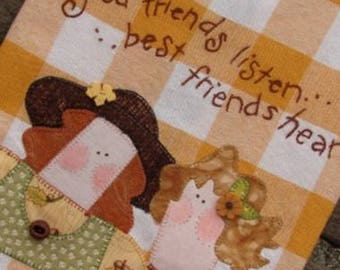 Best Friend Gift | Friendship Gift | Appliqued Kitchen Towel | Good Friends Embroidery | Gold Check Towel  | Home Kitchen Decor | Tea Towel