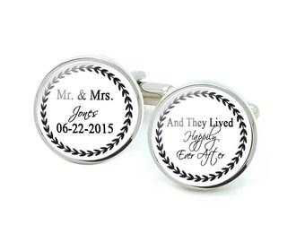 Mr Mrs Cufflinks, Lived Happily After Cufflinks, Wedding Cufflinks, Groom Cufflinks
