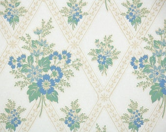 1930s Vintage Wallpaper by the Yard - Floral Wallpaper with Blue and Green Floral Bouqets on White