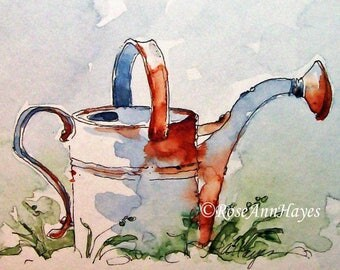 Vintage Watering Can Print of Watercolor Painting Garden Gift Art