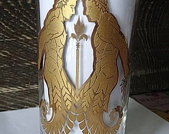 Astrology Glass Tumbler Gemini Gold Barware Horoscope