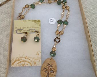 Bronze metal clay necklace and earring set/tree of life