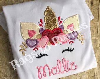 Personalized Unicorn Shirt - Unicorn Valentine Shirt- Valentine's Day Shirt