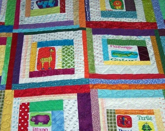 Children's quilt--jungle animal party
