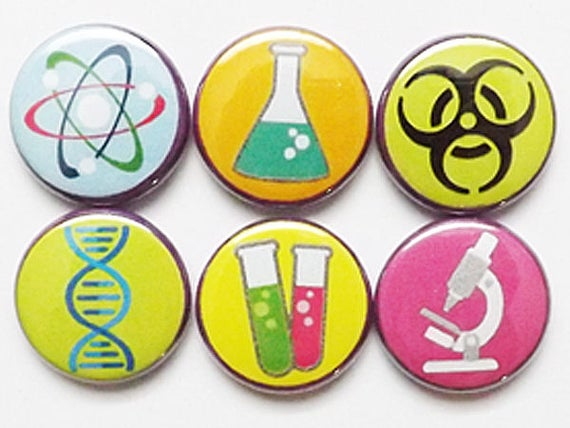 Science Magnets microscope DNA test tubes beaker atom hazard party favors stocking stuffers laboratory lab geekery nerd dork pins gifts