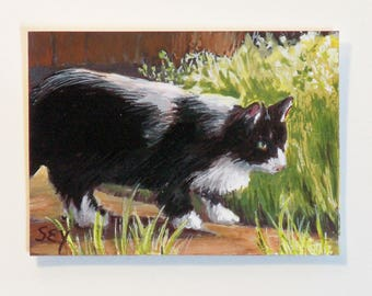"ACEO Original  Watercolor Painting - Tuxedo Cat - Cat Art - 2 1/2"" x 3 1/2"" - Artist Trading Cards - Art Cards - Fine Art"