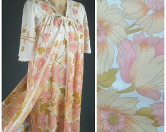 vintage 60s flower power peignoir robe nightgown set matching medium long maxi mod groovy lingerie sleep gown dress