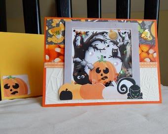 Handmade Halloween Card:  shaker card, greeting card, multi color,candy corn, cats,pumpkin, complete card, handmade, balsampondsdesign, ooak