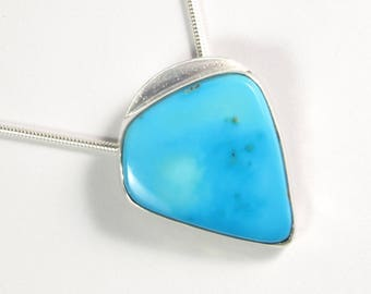 Sleeping Beauty Turquoise Pendant in Sterling Silver