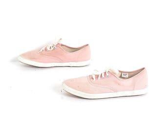 size 8.5 KEDS style pink canvas 80s 90s GRUNGE lace up tennis shoes