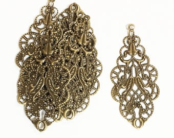 Bulk 100 pcs of Antique brass  filigree connector links 19x42mm, Bulk antique brass filigree drops, bronze filigree pendant