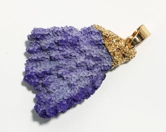 Last one  Pale Purple free form coral with gold  plated brass pendant 37x27mm, sponge coral, dyed coral