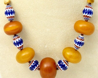 "AFRICAN COPAL AMBER 22.5"" Necklace, Venetian Chevron Beads, Indian Head Penny"