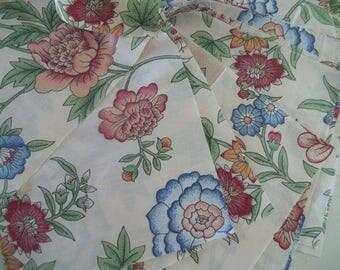 Vintage Polished Cotton Fabric Squares - Chintz Fabric Squares - Jacobean Floral ~ Made in England