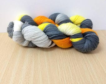 Post Flash Sock Yarn Super wash Merino/Nylon Sock Yarn Hand Dyed Sock Yarn Orange, Gray, Yellow and Natural Sock Yarn