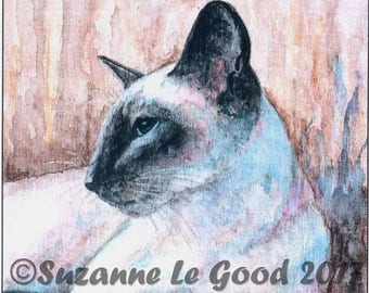 SIAMESE CAT PRINT - Bluepoint - Limited Edition large print from watercolour painting by English artist Suzanne Le Good