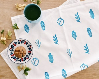 Leafy Tea Towel . Block Printed Kitchen Towel . Blue and White . Gift for Her . Housewarming Gift . Gift for Mum Mom . Placemat . Napkin