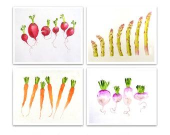 Vegetable Art Print Kitchen Art Botanical Print Sale 20% set of 4 Watercolor painting fruit still life gift for gardener LaBerge
