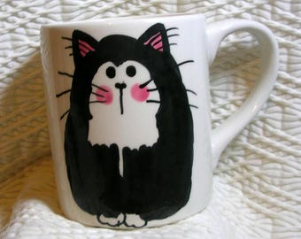 Tuxedo Cat Clay Mug Original Handmade With Paws On Back by Gracie