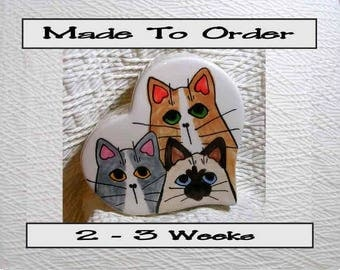 Cat Trio Heart Bank Original Design Handmade To Order  With Paws On Back by GMS